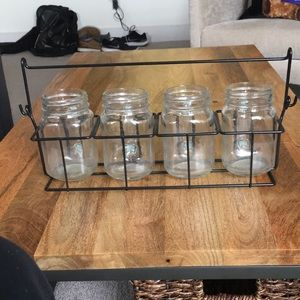 4 Mason Jars w/ Carrier